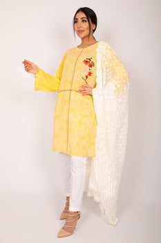 Yellow Embroidered Stonez Kurta