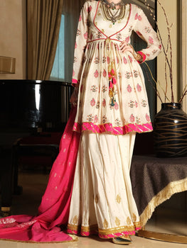 White Jacquard 3 Piece Formal - Almirah Festive