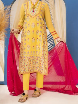 Yellow 3 Piece Pret Suit - Almirah