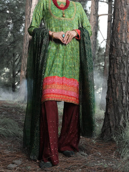 Green Silk 3 Piece Unstitched - Almirah Winter