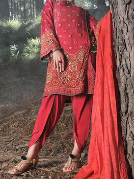 Red Raw Silk 3 Piece Unstitched - Almirah Winter