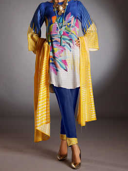 Yellow Silk Jacquard 3 Piece Unstitched - Almirah Winter