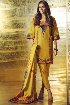 Mustard Embroidered Khaddar Suit - Alkaram Winter Collection