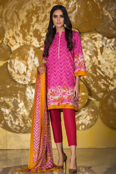 Pink Printed Khaddar Suit - Alkaram Winter Collection