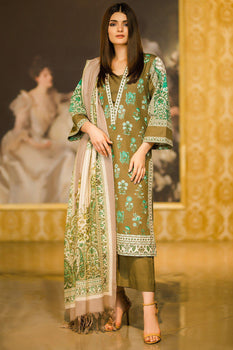 Green Printed Khaddar Suit - Alkaram Winter Collection
