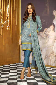 Blue Printed Twill Viscose Suit - Alkaram Winter Collection