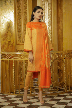 Orange Printed Khaddar Suit - Alkaram Winter Collection