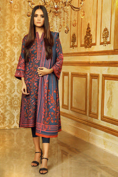 Blue Embroidered Plain Viscose Suit - Alkaram Winter Collection