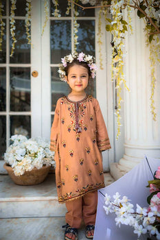 Peach 2 Piece Suit - Gul Ahmed Kids