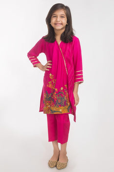 Hot Pink 2 Piece Suit - Gul Ahmed Kids