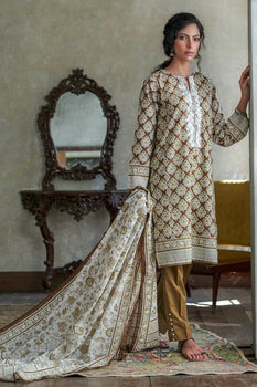 Beige Embroidered 2pc Lawn Suit  - Gul Ahmed