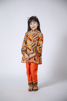 Multicolor and Orange Cotton Khaddar 3 Piece Suit  - Senorita Winter Collection