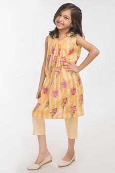 Yellow Lawn 2 Piece Suit - Gul Ahmed Kids