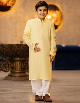 Lemon Yellow Kurta - J. Junaid Jamshed Boys