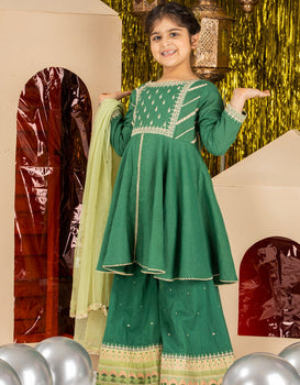 Green 3 Piece Suit - J. Junaid Jamshed Kids