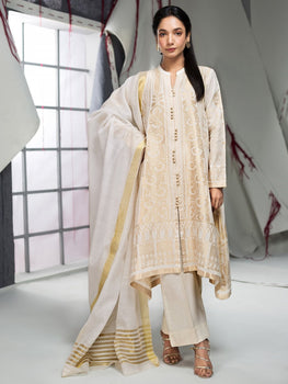Off White Jacquard Suit (2 Piece) - Limelight Eid
