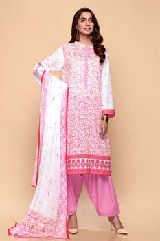 Pink & White 3pc Lawn Suit  - Gul Ahmed