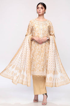 Gold Printed 3pc Lawn Suit  - Gul Ahmed
