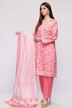 Pink Printed 3pc Lawn Suit  - Gul Ahmed