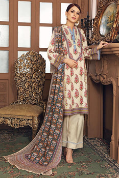Cream Karandi Suit - Gul Ahmed Winter