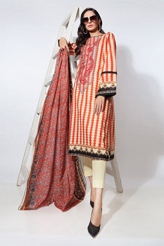 Red Embroidered 2pc Lawn Suit  - Gul Ahmed