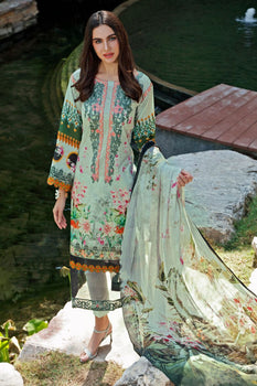 Green Embroidered 3pc Lawn Suit  - Gul Ahmed