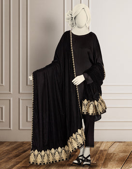 Black Ladies Shawl - J. Junaid Jamshed