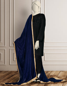 Navy Ladies Shawl - J. Junaid Jamshed