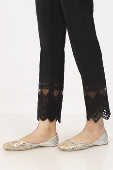Black Organza Lace Trousers - Stonez