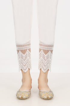 White Organza Lace Trousers - Stonez