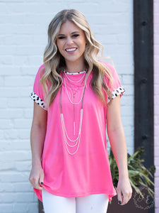 Standout Style Neon Pink Top with Dalmatian Print Accents & Back Detail