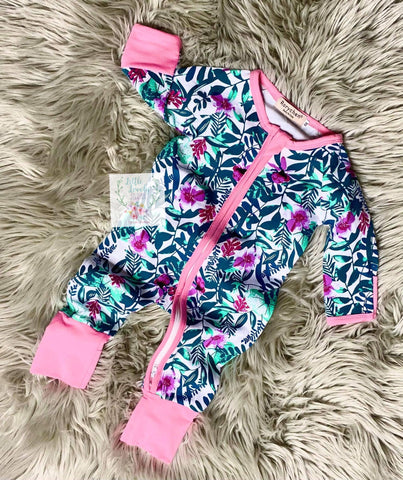 Girls Floral Zip Up Romper