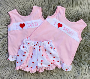 I Heart MOM/DAD Girls Short Set