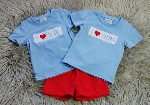 I Heart MOM/DAD Boys Short Set