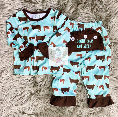 I Count Cows Not Sheep Girls PJs