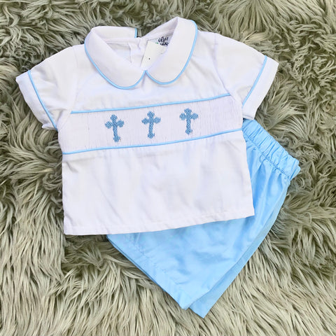 Smocked Boys Cross Short Set