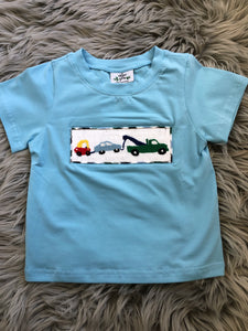 Smocked Tow Truck Tee