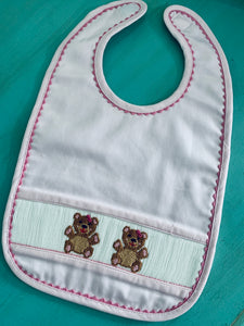 Pink Girls Bear Smocked Bib