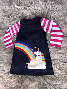 Navy Unicorn Rainbow Dress