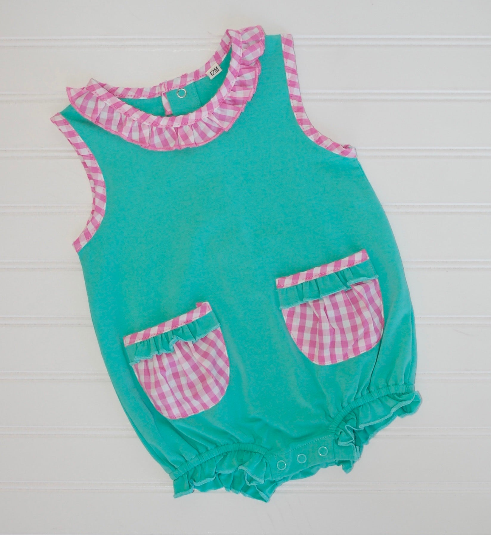 Gingham Pocket Girls Bubble 12m