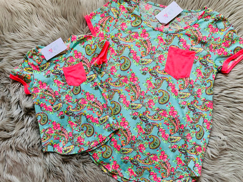 Vacation Vibes Paisley Top with Neon Pink Accents