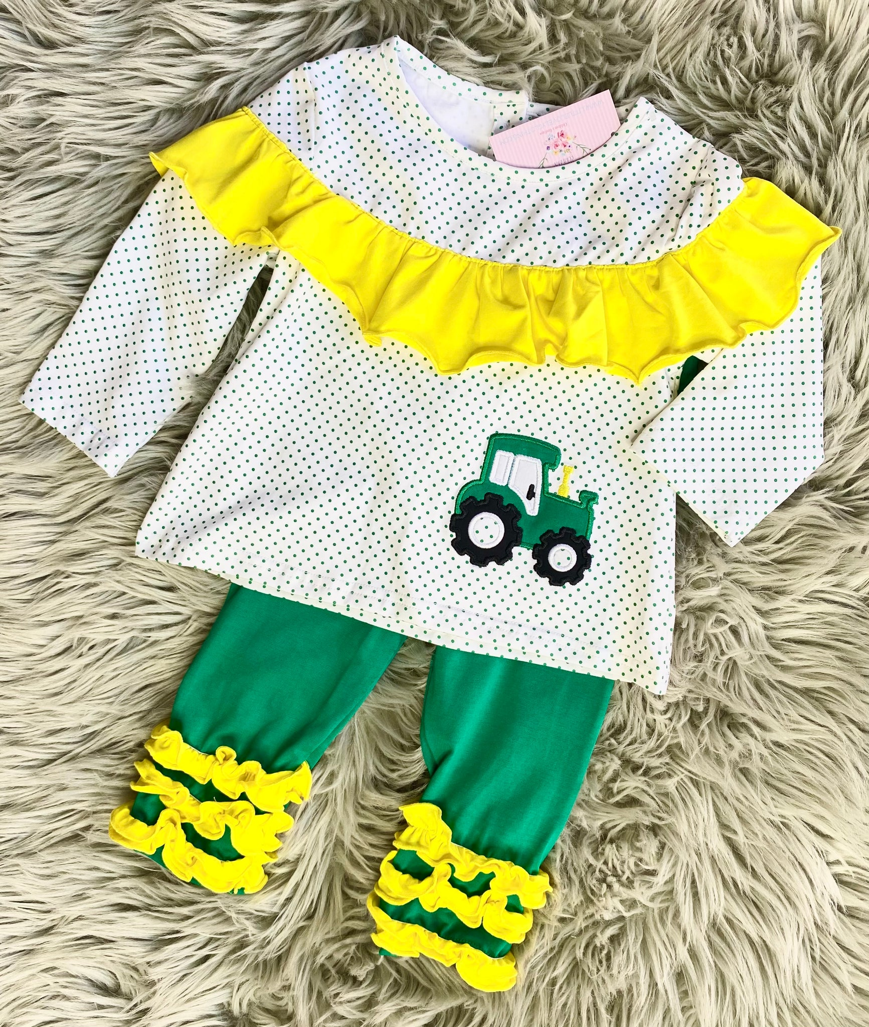 Green Tractor Girls Pant Set