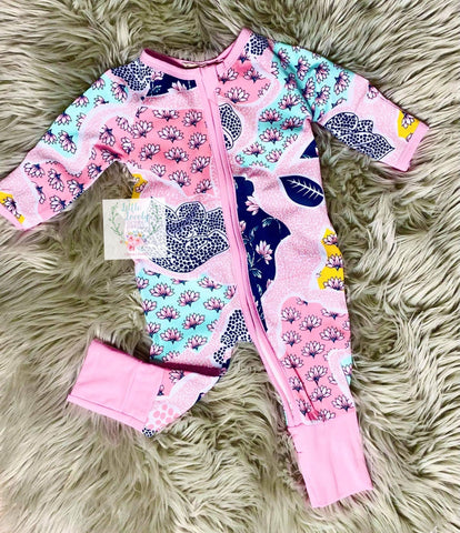 Girls Patchwork Zip Up Romper