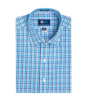 Navy and Teal Tattersall Check Short Sleeve Shirt with Magnetic Closures