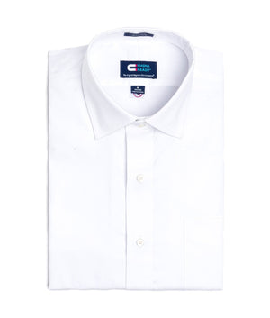 White Pinpoint Long Sleeve Dress Shirt with Magnetic Closures