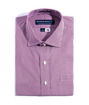 Burgundy And White Gingham Check Poplin Weave Long Sleeve Shirt With Magnetic Closures