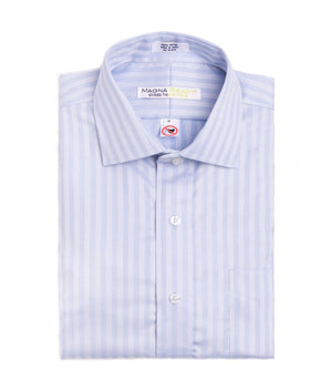 Blue Tonal Stripe Long Sleeve Dress Shirt with Magnetic Closures