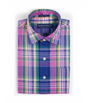 Solid Madras Inspired Pink Plaid Short Sleeve Shirt with Magnetic Closures