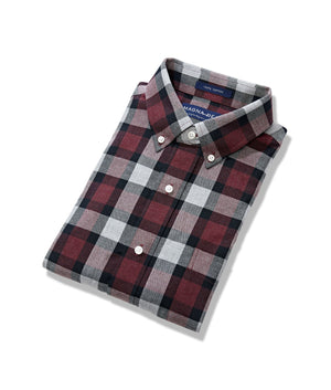 Burgundy Grey Softly Brushed Flannel Long Sleeve 'Heights' Shirt with Magnetic Closures in Burgundy Grey