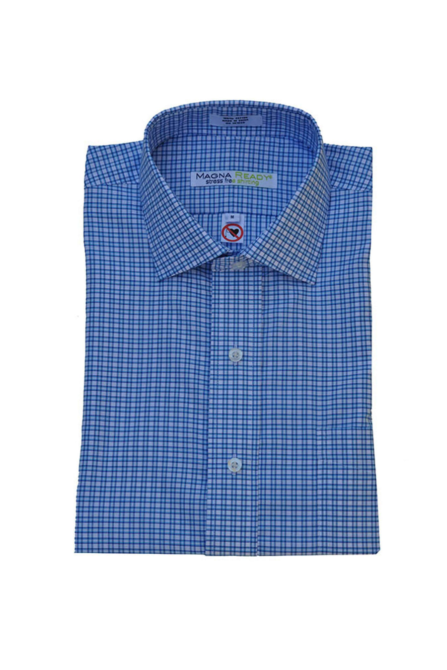 Classic White and Carolina Blue Plaid Short Sleeve Shirt with Magnetic Closures